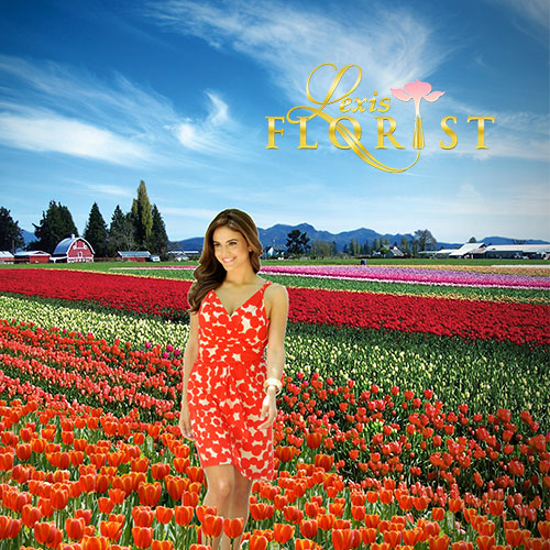 Lexis Florist of Houston Logo with Field of Flowers