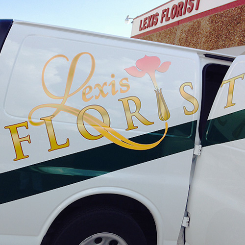 lexis florist of houston flower delivery van with florist logo